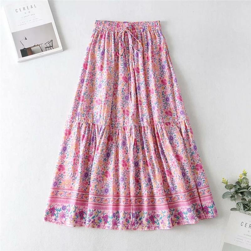 Fashion Hippie Women Chic Bohemian Pink Floral Print Long Skirt - nejomisfindings