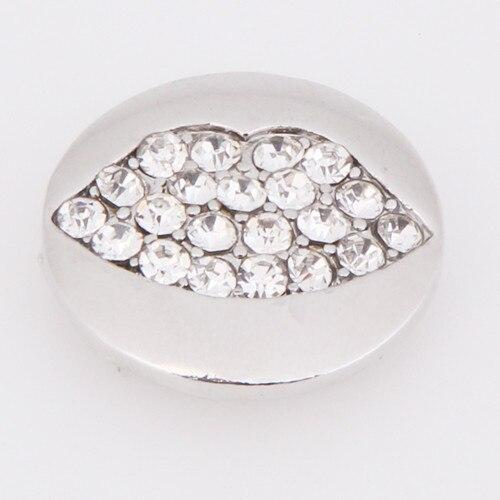 Charm Lips Rhinestone Flower 18mm Snap Buttons - nejomisfindings