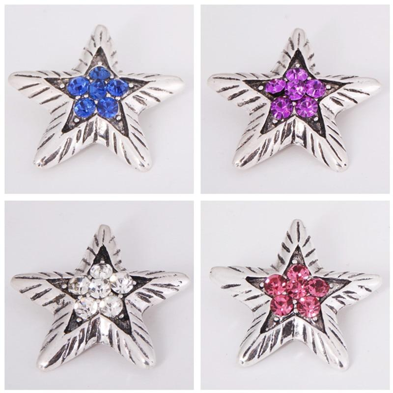 Elegant Rhinestone Star Snap Buttons Fit 18MM DIY Snaps Jewelry - nejomisfindings