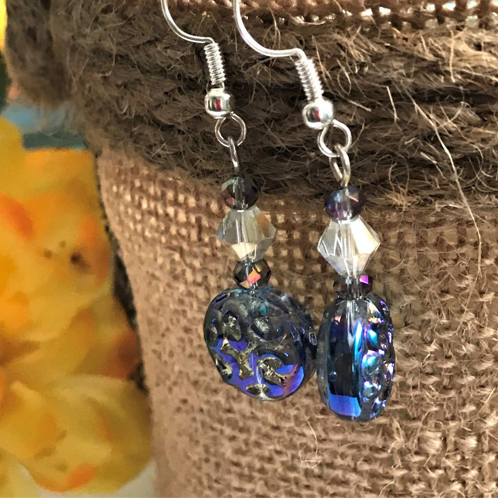 Fancy Blue Pressed Glass Beaded Dangle Earrings - nejomisfindings