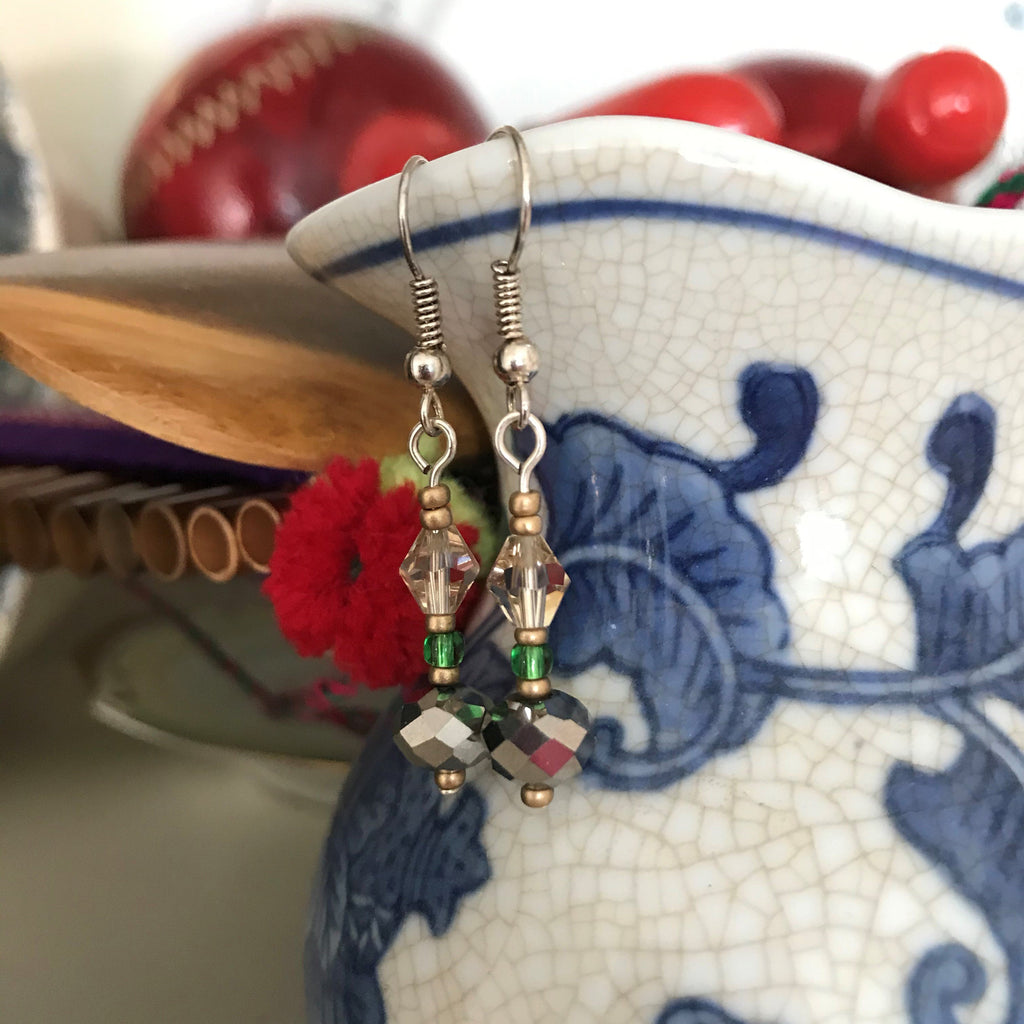Light Gold Bicones and Silver Glass Beaded Handmade Dangle Drop Earrings - nejomisfindings