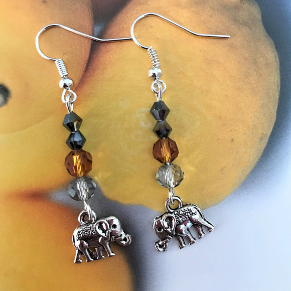 Handmade Beaded Elephant Dangle Drop Earrings