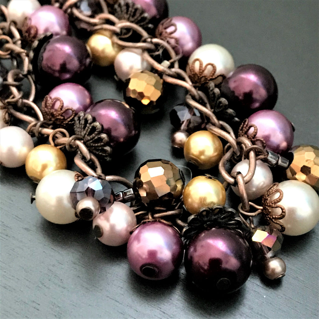 Copper Vintage Inspired Handmade Beaded Glass Pearls Bracelet - nejomisfindings