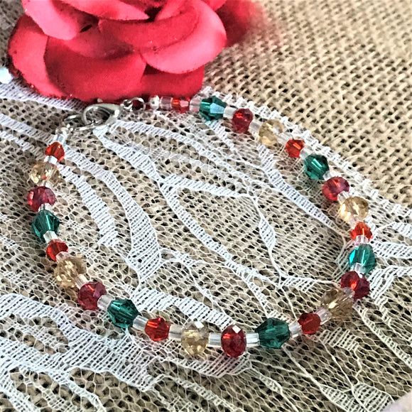 Holiday Colors Glass Handmade Beaded Bracelet