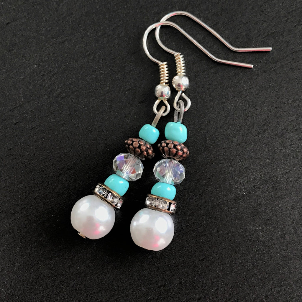 White Pearls Copper with Crystals Dangle Earrings - nejomisfindings