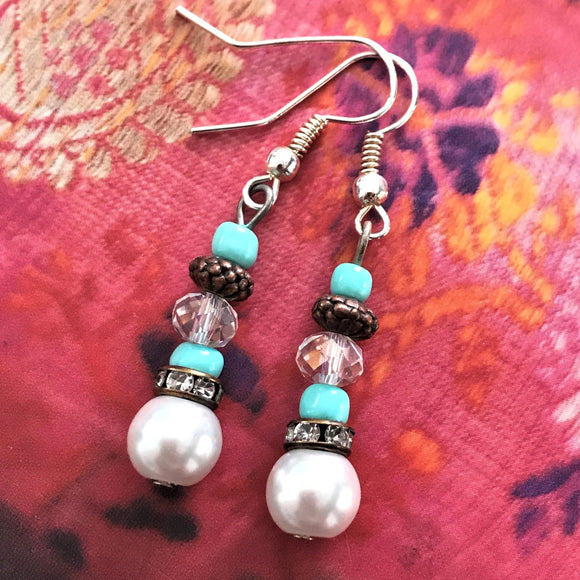 White Pearls Copper with Crystals Dangle Earrings