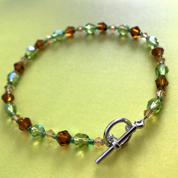 Green and Amber Brown Handmade Glass Beaded Bracelet