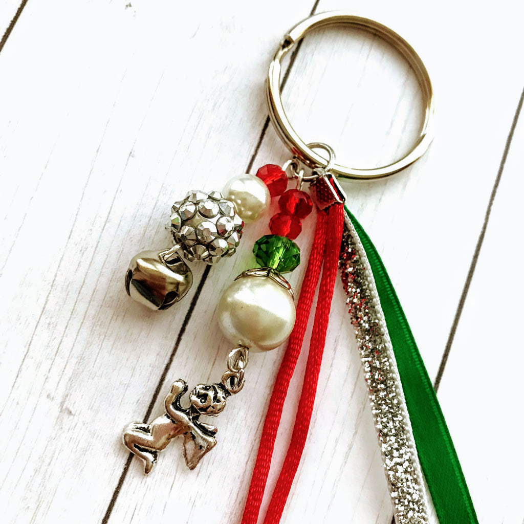 Beaded Handmade Keychains for Gifts Holiday Angel - nejomisfindings
