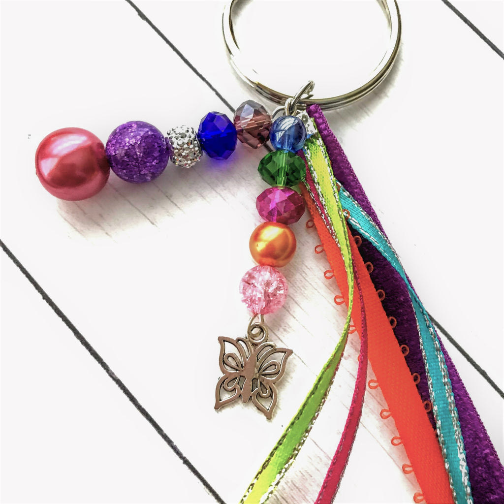 Beaded Handmade Keychains for Gifts Colorful Butterfly - nejomisfindings