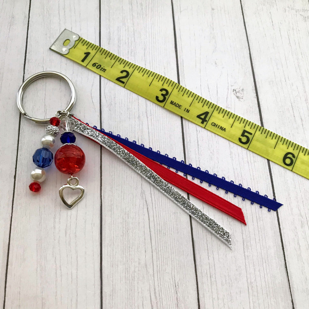 Beaded Handmade Keychains for Gifts Patriotic Heart - nejomisfindings