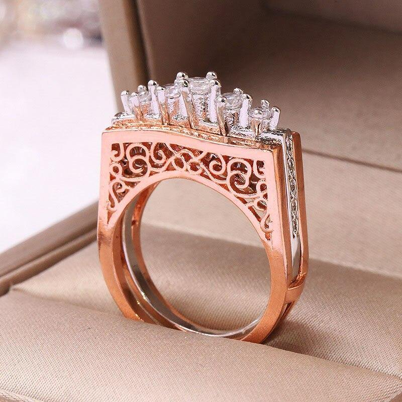 Luxury Brand Rose Gold Hollow Pattern Stacking Rings 2Pcs/Set For Women - nejomisfindings