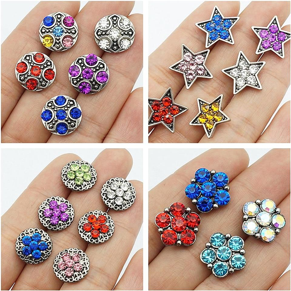 10pcs Rhinestone Star flowers Small 12MM Metal Snap Buttons For Snap Jewelry - nejomisfindings