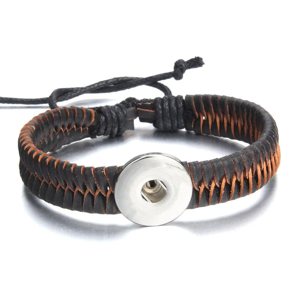 18mm Snap Jewelry Handmade Braided Leather Snap Button Bracelet for Women - nejomisfindings