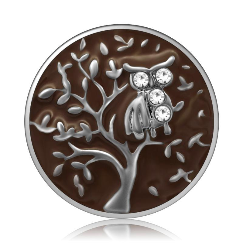 New Beauty Tree Owl Rhinestone Colorful Snap Buttons Fit 18mm - nejomisfindings