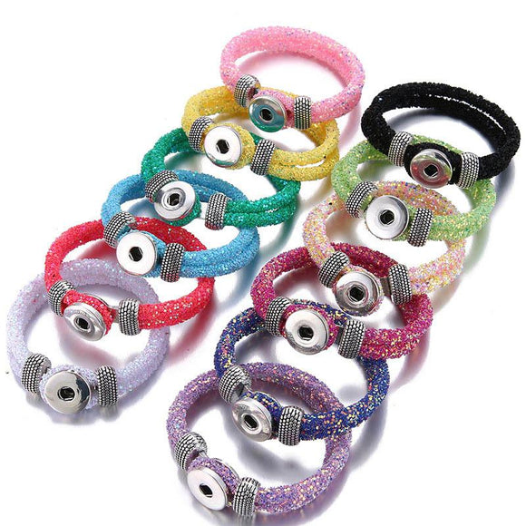 Fashion Trendy Fluorescent Color Sequin Shining Snap Bracelets Fit 18MM