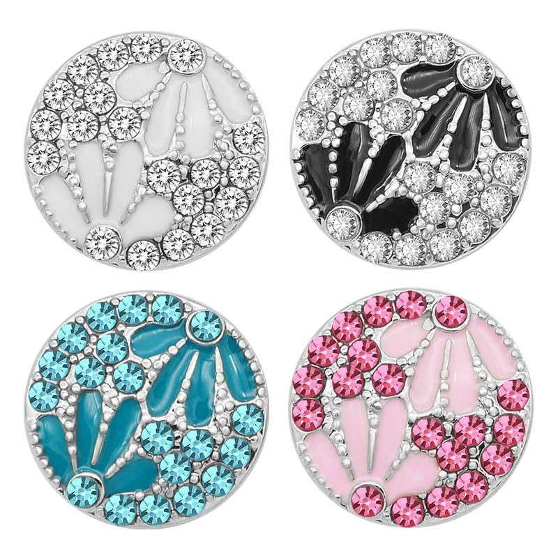 Charm Colorful Crystal Flowers Metal 18MM Snap Buttons - nejomisfindings