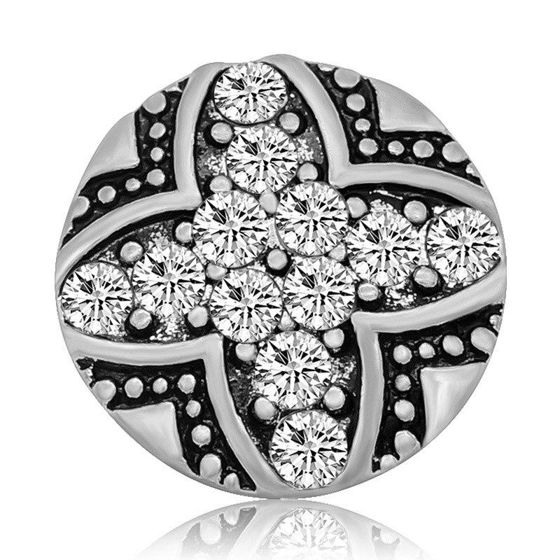 Beauty Rhinestone Cross Round 20MM Snap Buttons Fits 18mm Snap Jewelry - nejomisfindings