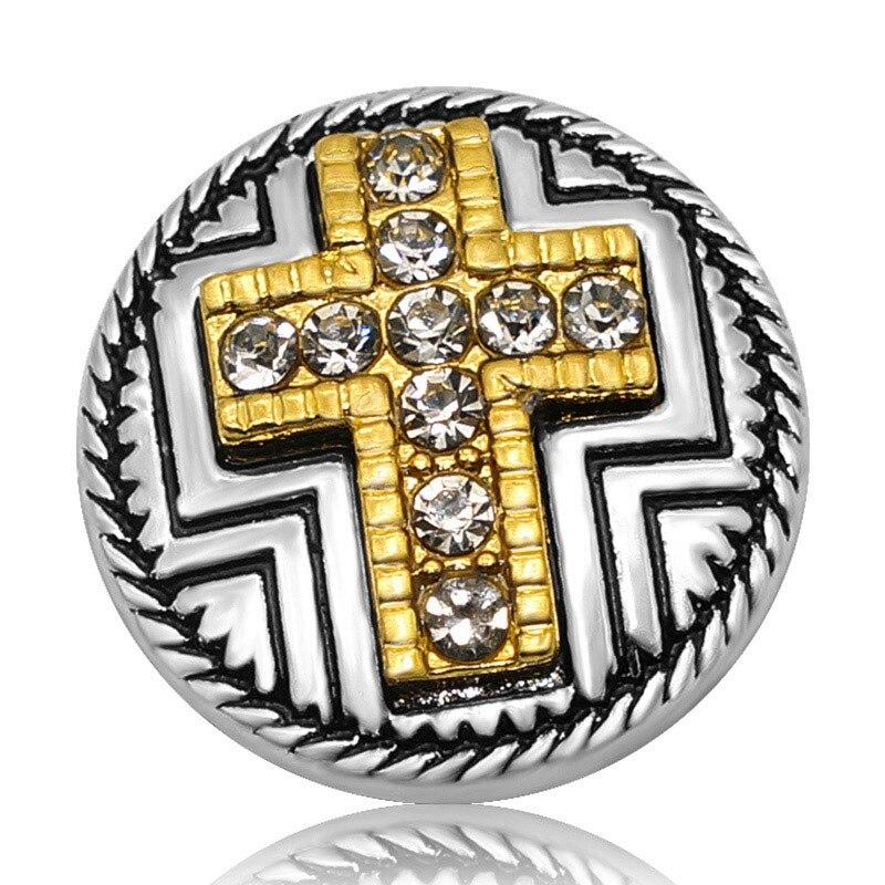 Two Tone Metal Rhinestone Cross 20MM Snap Buttons Fit 18mm Snap Jewelry - nejomisfindings