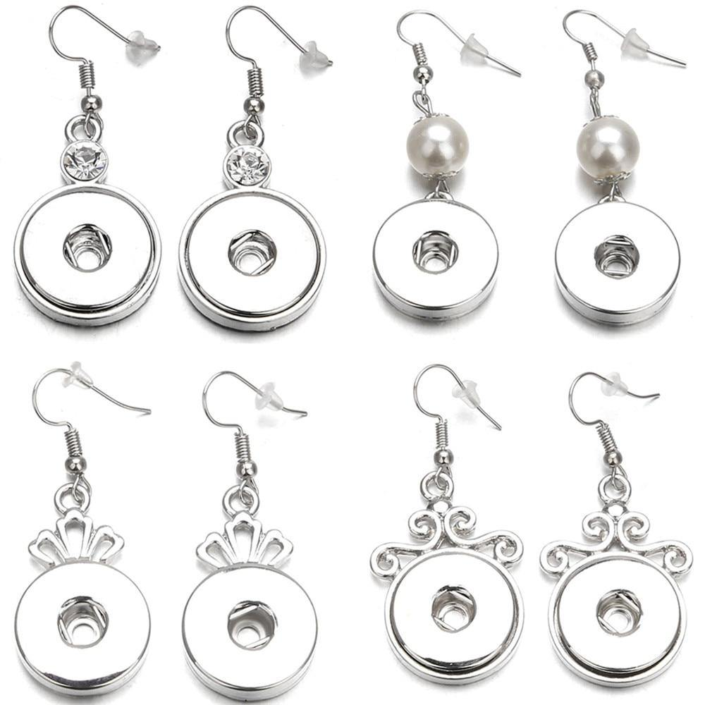 Snap Jewelry Beauty Crystal Snap Earring Fit 18mm Snap Buttons - nejomisfindings