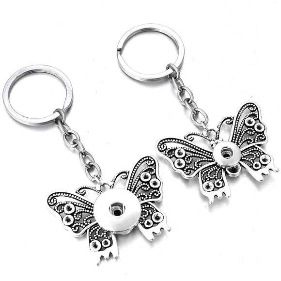 Snap Jewelry Vintage Butterfly KeyChain Fit 12mm or 18mm Snap Buttons
