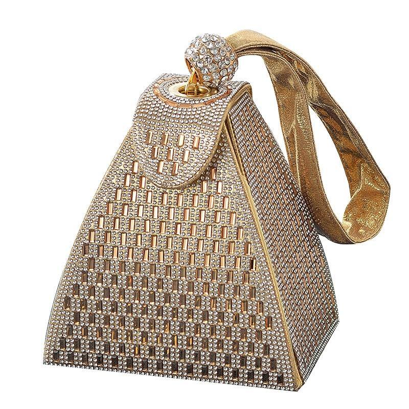 Women Square Piramid Fashion Crystals Metallic Evening Clutch Bags - nejomisfindings