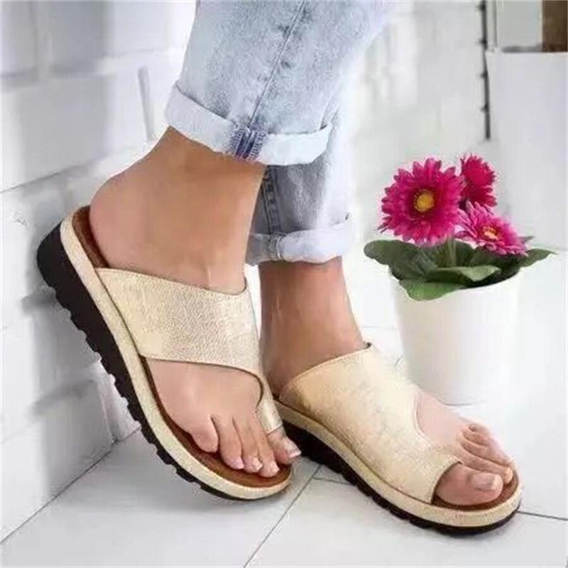 Women Sandals Comfy Casual Flat Platform Big Toe Foot Sandals - nejomisfindings