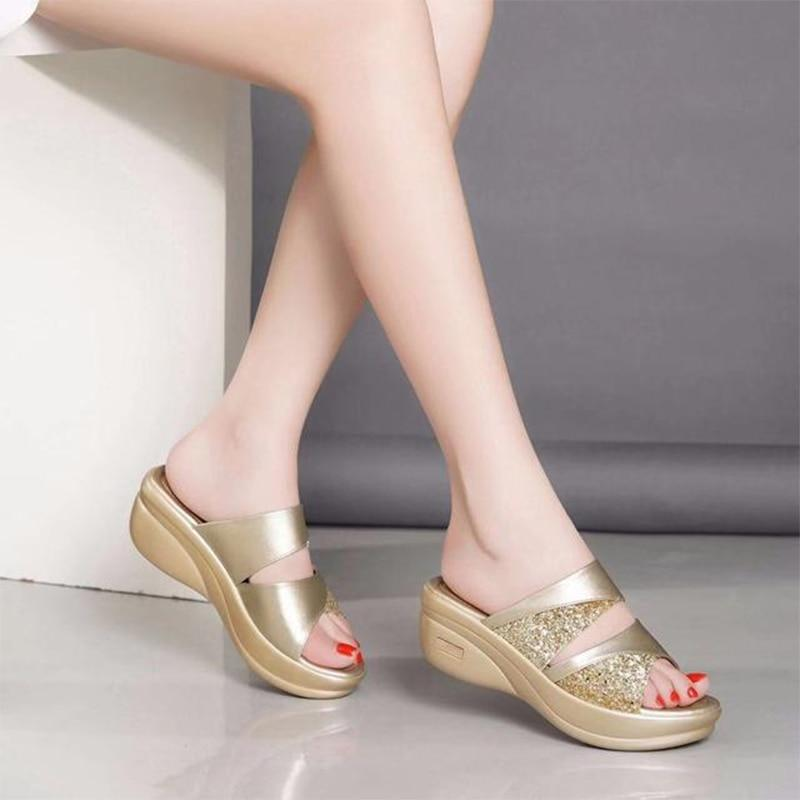 Women Spring Bling Slipper PU Leather Wedges Flat Shoes - nejomisfindings