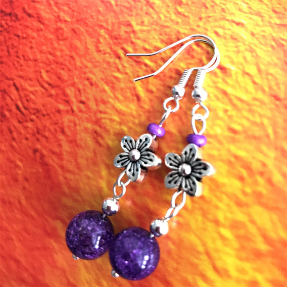 Purple with Flower Charm Beaded Handmade Dangle Drop Earrings