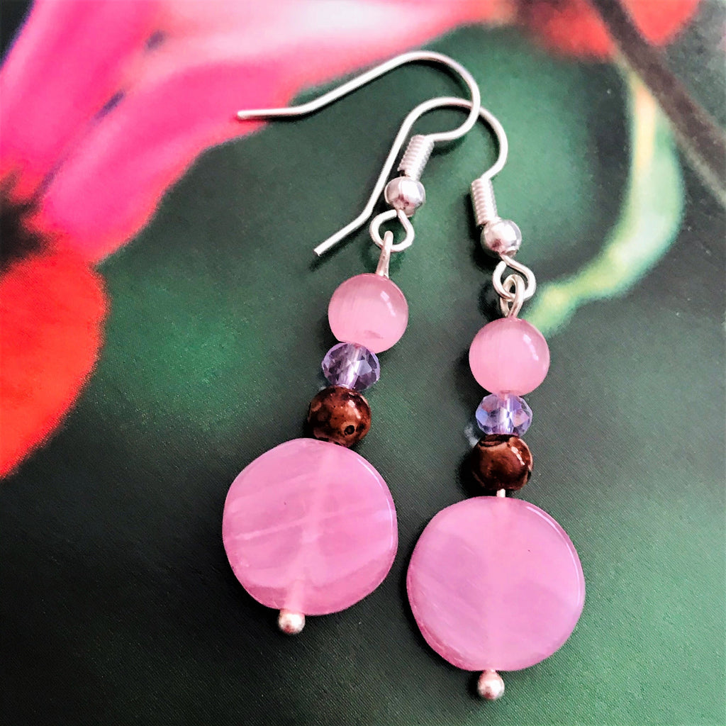 Light Pink Mauve Beaded Drop Dangle Earrings - nejomisfindings