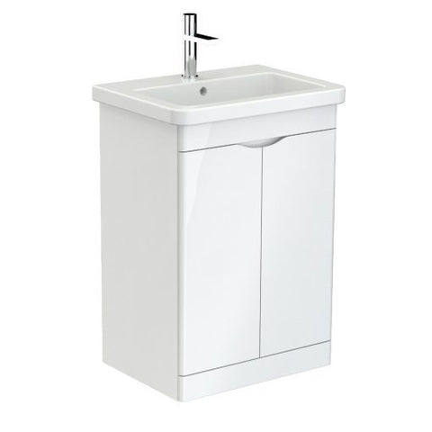 Indigo 600mm 2 Door Floor Standing Vanity Unit & Basin (Gloss White/Grey) - GWP Bathrooms