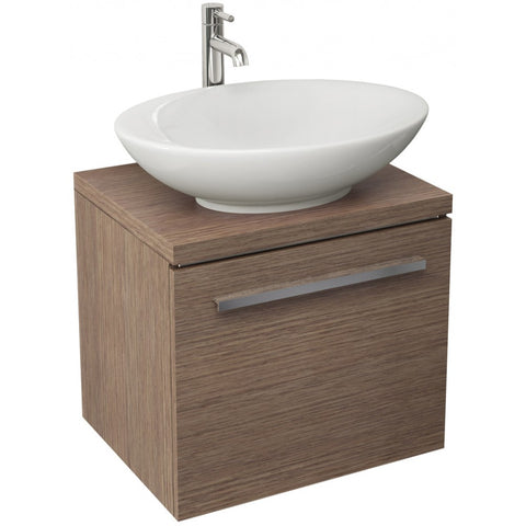 Pura Bloque Single Drawer Soft Oak Wall Mounted Vanity Unit And Optional Basin - 470mm - GWP Bathrooms