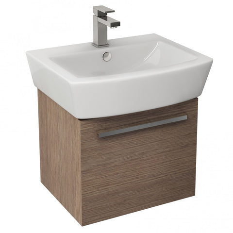Pura Bloque 470mm Single Drawer Wall Mounted Vanity Unit in Soft Oak & 550mm Basin - GWP Bathrooms