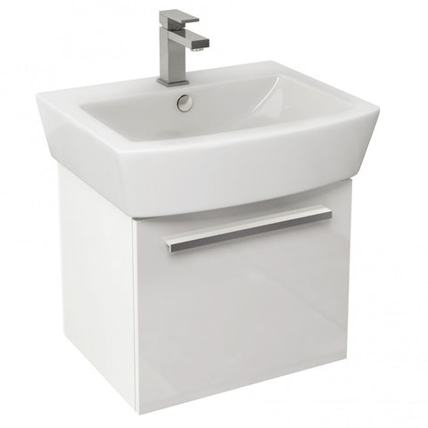 Pura Bloque 470mm Single Drawer Wall Mounted Vanity Unit in White Gloss & 550mm Basin - GWP Bathrooms