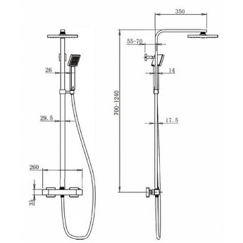Pura Bloque Dual Outlet Thermostatic Bar Valve Fixed Head And Handset - GWP Bathrooms