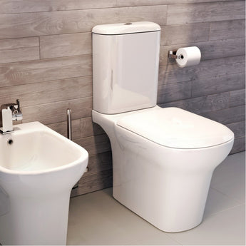 Grace Rimless Close Coupled Open Back Toilet & Cistern Inc Soft Close Seat - GWP Bathrooms