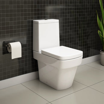 Pura Bloque Close-Coupled Toilet & Cistern Inc Soft Close Seat - GWP Bathrooms