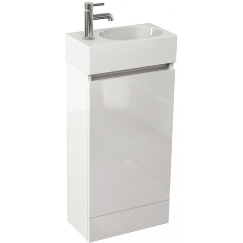 Echo 400mm Single Door Floor Standing Cloakroom Vanity Unit & Basin (White/Soft Oak/Wenge) - GWP Bathrooms