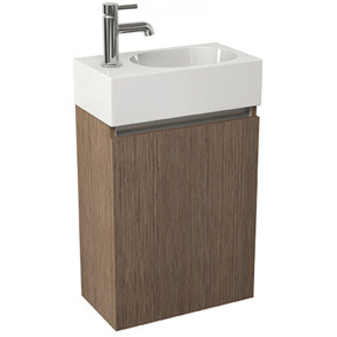 Echo 400mm Single Door Wall Mounted Cloakroom Vanity Unit & Basin (White/Soft Oak/Wenge) - GWP Bathrooms