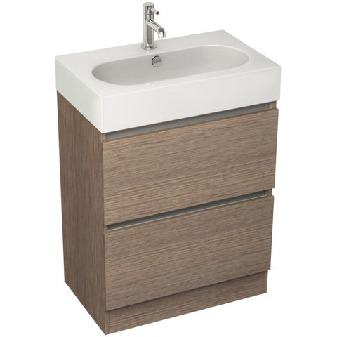 Echo 600mm Double Drawer Floor Standing Vanity Unit & Basin (Wenge/Soft Oak/White) - GWP Bathrooms