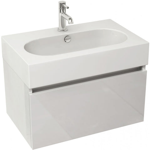 Echo 600mm Single Drawer Wall Mounted Vanity Unit & Basin (White/Soft Oak/Wenge) - GWP Bathrooms