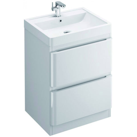 Flite 600mm Double Drawer Floor Mounted Vanity Unit & Basin - GWP Bathrooms