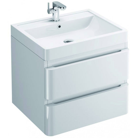 Flite 600mm Double Drawer Wall Mounted Vanity Unit & Basin - GWP Bathrooms
