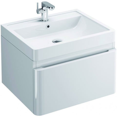 Flite 600mm Single Drawer Wall Mounted Vanity Unit & Basin - GWP Bathrooms