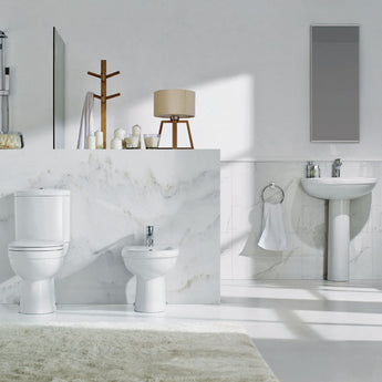 Ivo Compact 620mm Full Pedestal Basin (One Tap Hole/ Two Tap Hole) - GWP Bathrooms