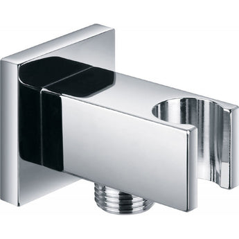 Square Brass Wall Outlet Elbow With Bracket - GWP Bathrooms