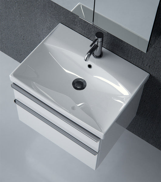 Prague 500mm Double Drawer Wall Mounted Vanity Unit & Basin Gloss White - GWP Bathrooms