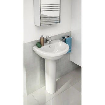 Ivo Compact 500mm Full Pedestal Basin (One Tap Hole/Two Tap Hole) - GWP Bathrooms