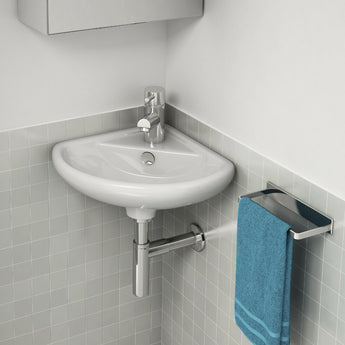 Ivo 310mm Cloakroom Handrinse Corner Basin With One Tap Hole - GWP Bathrooms