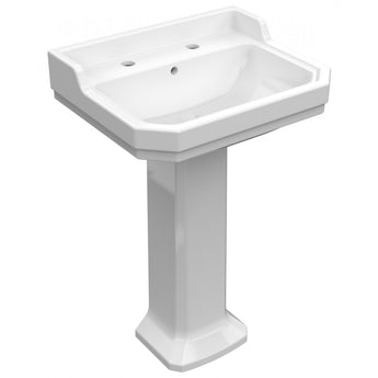 Wyndham Traditional 580mm Two Tap Holes Basin & Full Pedestal - GWP Bathrooms