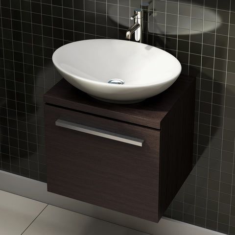 Pura Bloque Single Drawer Wenge Wall Mounted Vanity Unit And Optional Basin-470mm - GWP Bathrooms